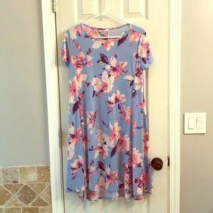 S Pink Blush high-low light blue floral dress